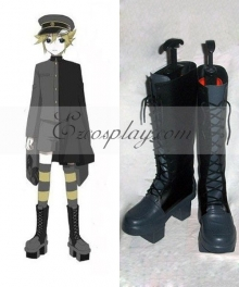 Vocaloid Thousand Cherry Tree Kagamine Len Blue and Black Shoes Cosplay Boots