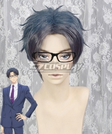 Wotakoi: Love is Hard for Otaku Hirotaka Nifuji Blue Black Cosplay Wig