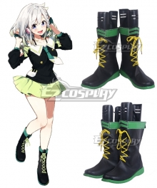 YouTuber Vtuber YuNi Black Green Shoes Cosplay Boots