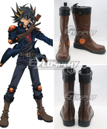 Yu-Gi-Oh! Yugioh 5D's Fudo Yusei Brown Shoes Cosplay Boots