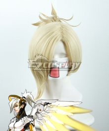 Overwatch OW Mercy Angela Ziegler Yellow Cosplay Wig 419F