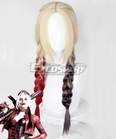 The Suicide Squad 2 Harley Quinn Golden Red Cosplay Wig