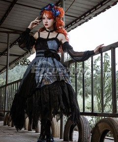 Gothic Lolita JSK Decaying Forest Black Suspender Dress Halloween Jumper Skirt Lolita Dress