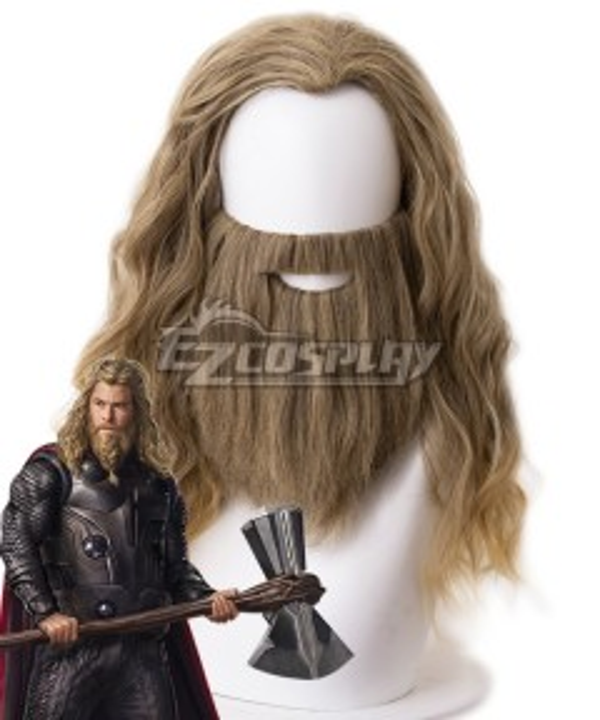 Marvel Avengers: Endgame Thor Brown Cosplay Wig - Wig + Moustache - 405K