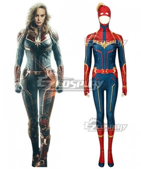 2019 Movie Captain Marvel Carol Danvers Zentai Jumpsuit Cosplay Costume