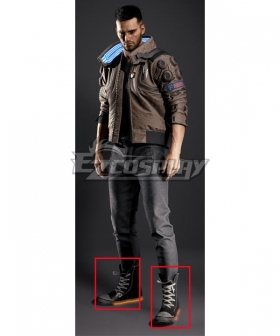 Cyberpunk 2077 V Male Black Cosplay Shoes