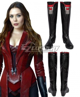 Marvel Captain America Civil War Scarlet Witch Wanda Maximoff Black Shoes Cosplay Boots