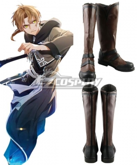 Mushoku Tensei: Jobless Reincarnation Rudeus Greyrat Brown Shoes Cosplay Boots