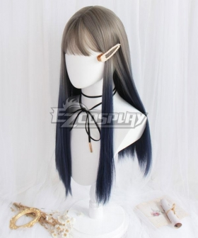 Japan Harajuku Lolita Series Grey Blue Straight Cosplay Wig