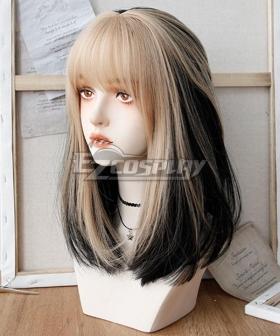 Japan Harajuku Lolita Series  Golden Black Cosplay Wig