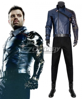 Marvel The Falcon and the Winter Soldier Bucky Barnes Blue Cosplay Costume