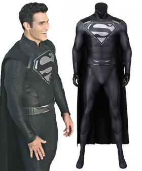 DC Crisis on Infinite Earths Superman Clark Kent Black Suit Cosplay Costume