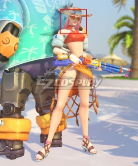 Overwatch OW Summer Games 2021 Poolside Ashe Silver Grey Pink Cosplay Wig