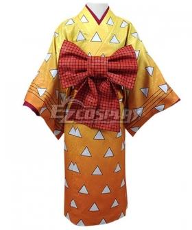 Kids Size Demon Slayer Kimetsu No Yaiba Agatsuma Zenitsu Kimono Cosplay Costume
