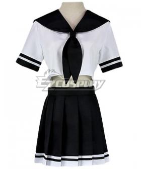 Black Short Sleeves School Uniform Cosplay Costume - ESU002Y