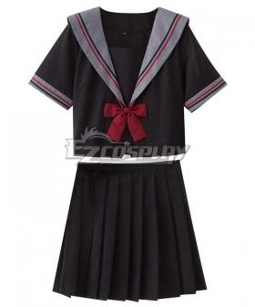 Black Short Sleeves School Uniform Cosplay Costume - ESU003Y