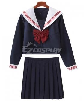 Deep Blue Long Sleeves School Uniform Cosplay Costume ESU009Y
