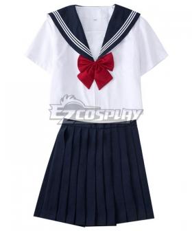 Deep Blue Short Sleeves Japan JK Uniform School Uniform Cosplay Costume ESU018Y