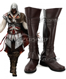 Assassin's Creed II Ezio Brown Cosplay Boots-055