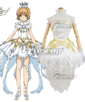 Cardcaptor Sakura: Clear Card Sakura Kinomoto Ice Snow Angel White Dress Cosplay Costume