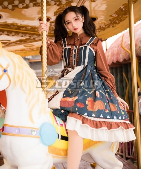 Classic Lolita JSK Christmas Afar Brown Blue White Suspender Dress Jumper Skirt Lolita Dress