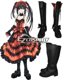 Date A Live Tokisaki Kurumi Nightmare Black Shoes Cosplay Boots