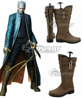 Devil May Cry 3 Vergil Brown Shoes Cosplay Boots