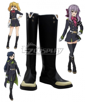 Seraph of the End Owari no Serafu Vampire Reign Shinoa Hiragi Mitsuba Sangu Shigure Yukimi Flat Black Shoes Cosplay Boots