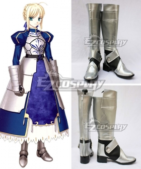 Fate Stay Night Saber Silver Shoes Cosplay Boots