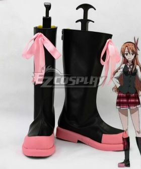 Akame ga KILL! Chelsea Black And Pink Shoes Cosplay Boots