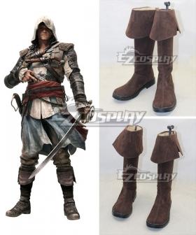 Assassins Creed 4 Black Flag Edward James Kenway Brown Cosplay Boots