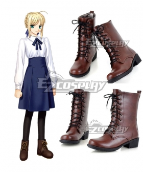 Fate Stay Night Saber Altria Pendragon King Arthur Brown Cosplay Boots