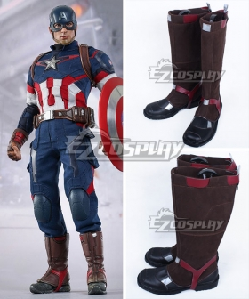 Marvel Captain America Steven Steve Rogers Brown Shoes Cosplay Boots