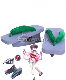 Kabaneri of the Iron Fortress Mumei Kimono Green Cosplay Shoes