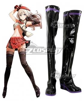 God Eater 2 Alisa Ilyinichna Omela Black Shoes Cosplay Boots