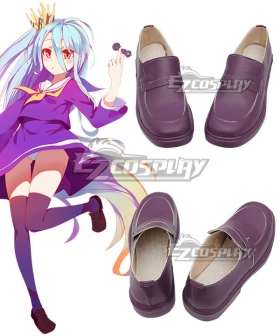 No Game No Life Shiro Dark Purple Cosplay  Shoes