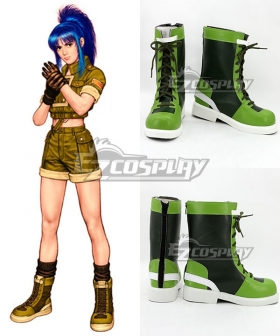 The King of Fighters'96 Leona Heidern Green and Black Shoes Cosplay Boots