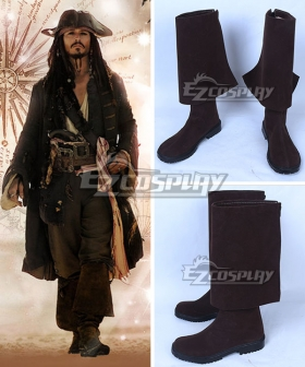 Pirates of the Caribbean: Dead Men Tell No Tales Captain Jack Sparrow Deep Brown Shoes Cosplay Boots