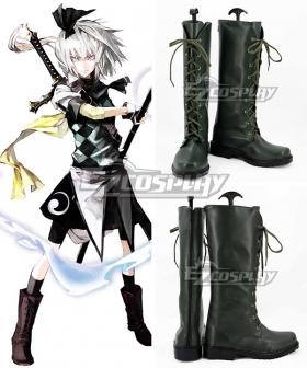 Touhou Project Koumajou Densetsu Legend of Scarlet Devil Castle Youmu Konpaku Deep Green Shoes Cosplay Boots