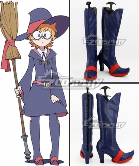 Little Witch Academia Lotte Yanson Deep Blue Shoes Cosplay Boots