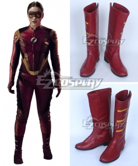 DC The Flash 3 Female Speedster Jesse Quick Red Shoes Cosplay Boots