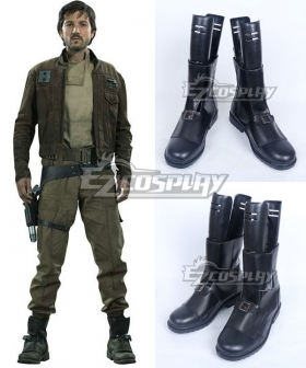 Rogue One A Star Wars Story Captain Cassian Andor Black Shoes Cosplay Boots