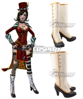 Borderlands Mad Moxxi White black Shoes Cosplay Boots