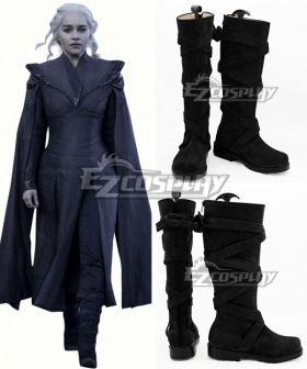 Game of Thrones Season 7 Daenerys Targaryen Black Shoes Cosplay Boots