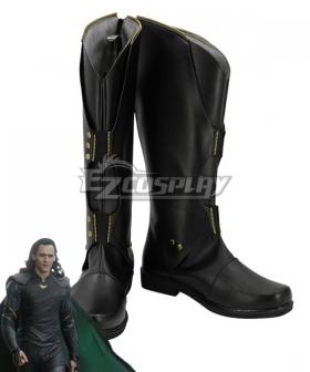 Marvel Thor 2: The Dark World Loki Black Shoes Cosplay Boots