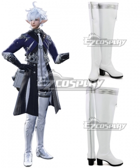 Final Fantasy XIV Alphinaud Leveilleur White Shoes Cosplay Boots