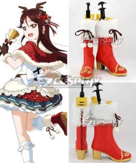 Love Live! Sunshine!! Sakurauchi Riko Christmas Ver. Red Shoes Cosplay Boots
