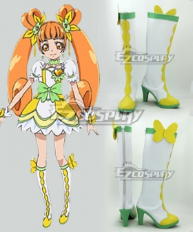 Cure Rosetta Doki Doki! Pretty Cure Heart Yotsuba Alice White Green Cosplay Boots