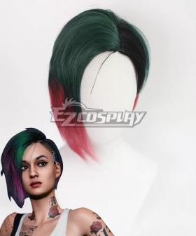 Cyberpunk 2077  Judy Alvarez Green Purple Cosplay Wig