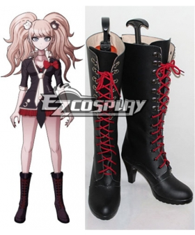 Dangan Ronpa Junko Enoshima Black Shoes Cosplay Boots